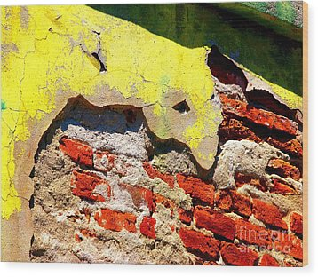 Bricks And Yellow By Michael Fitzpatrick Wood Print by Mexicolors Art Photography