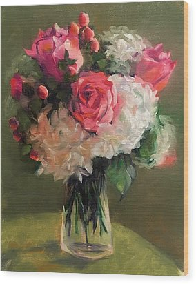 Wood Print featuring the painting Bridal Bouquet by Pam Talley