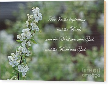 Bridal Wreath Christian Art Wood Print