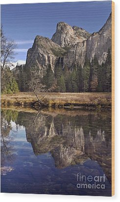 Bridelveil Falls Reflection Wood Print