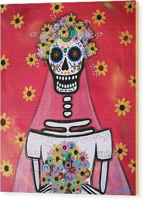 Wood Print featuring the painting Bridezilla Dia De Los Muertos by Pristine Cartera Turkus