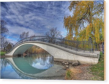Bridge At Elizabeth Park Wood Print by Rodney Campbell