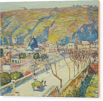 Bridge At Posilippo At Naples Wood Print by Childe Hassam