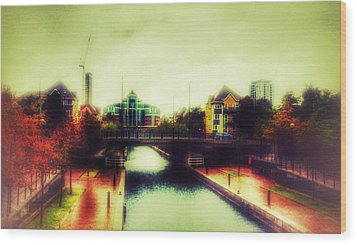 Wood Print featuring the photograph Bridge At Salford Quays by Isabella F Abbie Shores FRSA