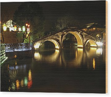 Bridge In Chinese Water Town Wood Print by Andrew Soundarajan