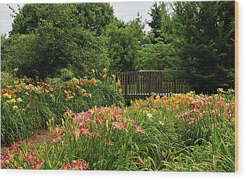 Wood Print featuring the photograph Bridge In Daylily Garden by Sandy Keeton