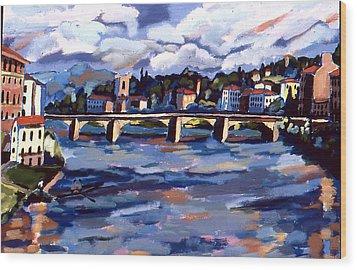 Bridge In Florence Wood Print