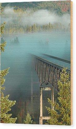Bridge In The Mist Wood Print by Annie Pflueger