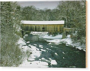 Bridge In Winter Wood Print