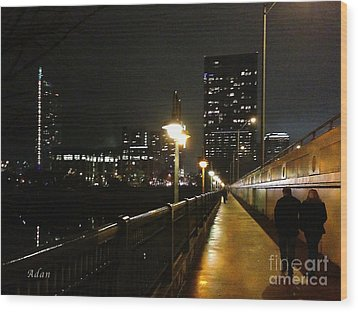 Wood Print featuring the photograph Bridge Into The Night by Felipe Adan Lerma