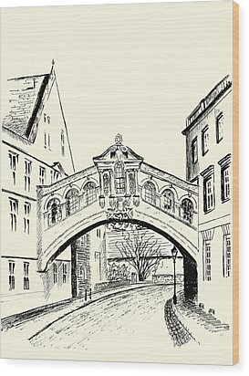 Wood Print featuring the drawing Bridge Of Sighs by Elizabeth Lock