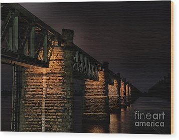 Bridge On Holy River Godavari Wood Print by Kiran Joshi