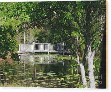 Wood Print featuring the photograph Bridge On Lilly Pond by Lori Mellen-Pagliaro
