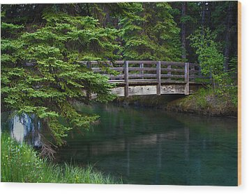 Wood Print featuring the photograph Bridge Over Glacial Waters In Banff National Park by Dave Dilli
