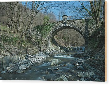 Bridge Over Peaceful Waters - Il Ponte Sul Ciae' Wood Print