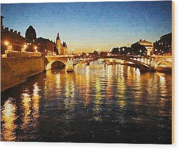 Bridge Over The Seine Wood Print