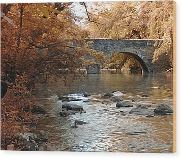 Bridge Over The Wissahickon At Valley Green Wood Print by Bill Cannon