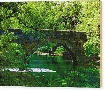Bridge Over The Wissahickon Wood Print by Bill Cannon