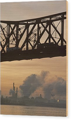 Bridge, River, And Skyline Full Of Air Wood Print by Kenneth Garrett