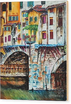 Wood Print featuring the painting Bridge The Gap by Maria Barry