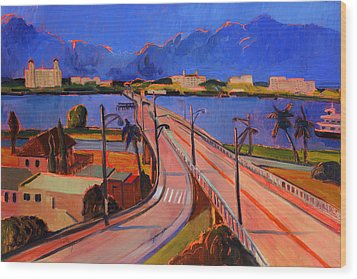 Bridge To Palm Beach Wood Print