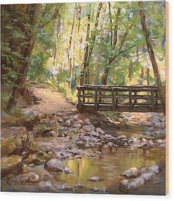 Bridge To The Falls Wood Print