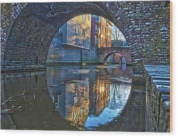 Bridges Across Binnendieze In Den Bosch Wood Print