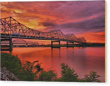 Bridges At Sunrise Wood Print by Steven Ainsworth