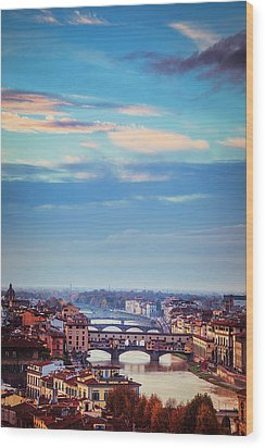 Wood Print featuring the photograph Bridges Of Florence by Andrew Soundarajan