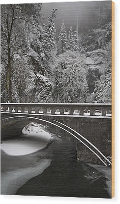 Bridges Of Multnomah Falls Wood Print by Wes and Dotty Weber