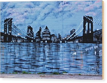 Bridges To New York Wood Print