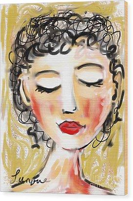 Wood Print featuring the digital art Bridgett by Elaine Lanoue