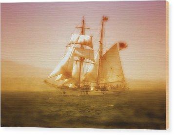 'brigantine Augustus Mccrea' Wood Print by Gus McCrea
