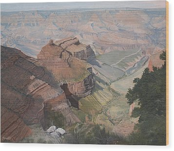 Bright Angel Trail Looking North To Plateau Point, Grand Canyon Wood Print