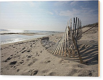 Bright Beach Morning Wood Print by Mary Haber