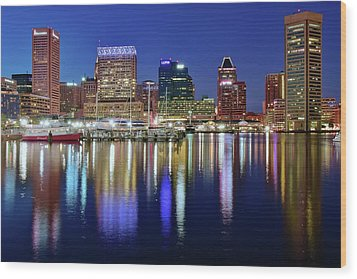 Wood Print featuring the photograph Bright Blue Baltimore Night by Frozen in Time Fine Art Photography