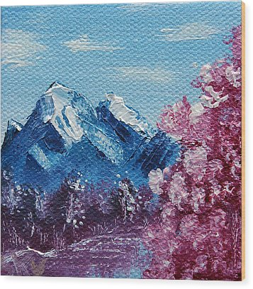 Bright Blue Mountains Wood Print by Jera Sky