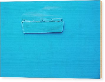 Bright Blue Paint On Metal With Postbox Wood Print by John Williams