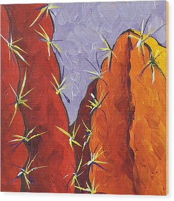 Bright Cactus Wood Print by Sandy Tracey