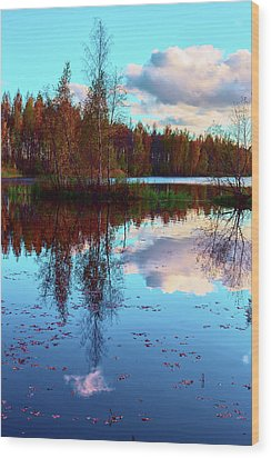 Bright Colors Of Autumn Reflected In The Still Waters Of A Beautiful Forest Lake Wood Print