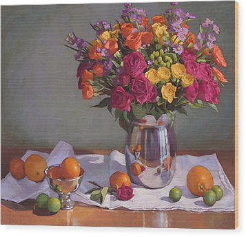 Bright Colors On A White Cloth Wood Print by Sarah Blumenschein