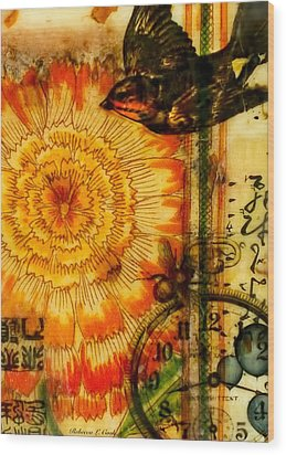 Wood Print featuring the painting Bright Life Encaustic by Bellesouth Studio