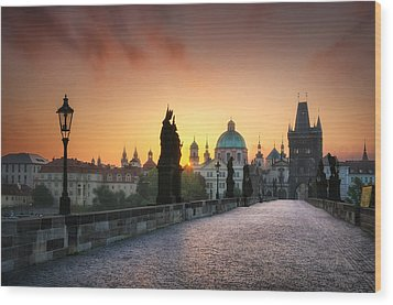 Bright Morning In Prague, Czech Republic Wood Print