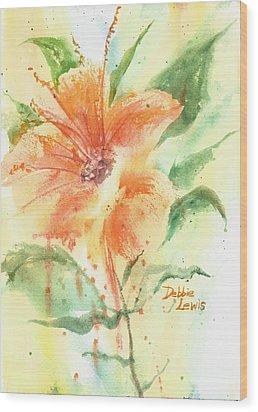 Bright Orange Flower Wood Print