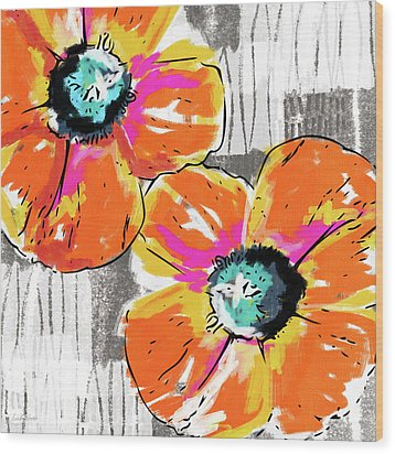 Wood Print featuring the mixed media Bright Orange Poppies- Art By Linda Woods by Linda Woods