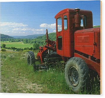 Bright Red Antique Grader Wood Print