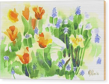 Wood Print featuring the painting Brightly April Flowers by Kip DeVore