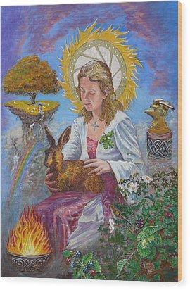 Brigid Goddess Celtic Goddess Of Fire Wood Print by Tomas OMaoldomhnaigh