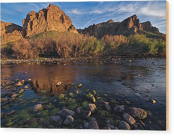Wood Print featuring the photograph Brilliant Salt River Colors At Sunset by Dave Dilli