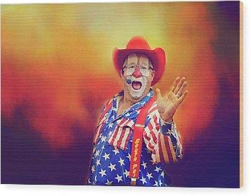 Bringing Fun To The Rodeo Greek Ellick Jr.  Wood Print by Toni Hopper